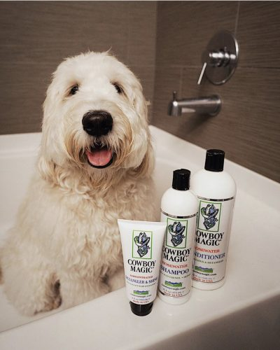 dog in tub with Cowboy Magic products